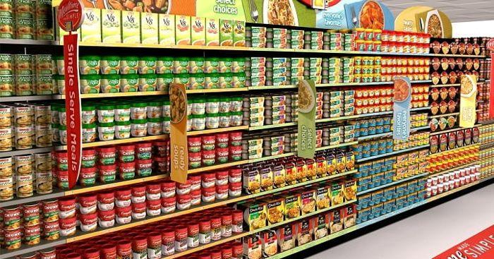 Layout de prateleiras de supermercado
